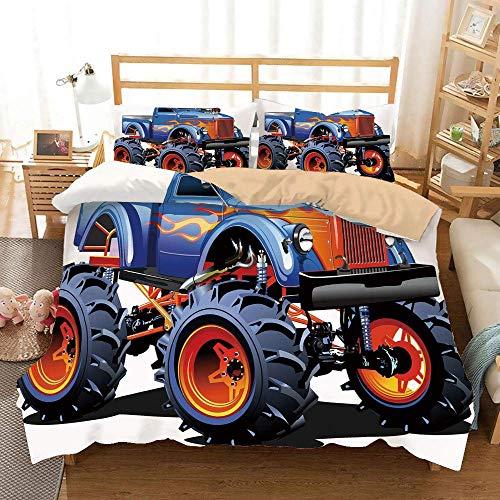 Set copripiumino cachi uomo Cave Decor, monster truck Cartoon enormi pneumatici fuori strada, ruote per trattori pesanti di grandi dimensioni Turbo decorative, decorative Set di biancheria da letto