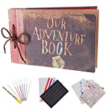"Album per foto per scrapbooking ""Our adventure book"", espandibile, 29,46 x 19,05 cm, 80 pagine, con contenitore e kit di accessori fai da te"