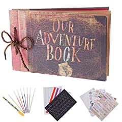"Idea Regalo - RECUTMS Album per foto per scrapbooking ""Our adventure book"", espandibile, 29,46 x 19,05 cm, 80 pagine, con contenitore e kit di accessori fai da te"