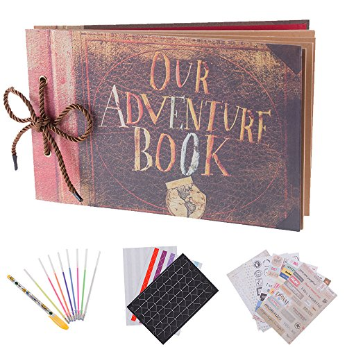 "Recutms album per foto per scrapbooking ""our adventure book"", espandibile, 29,46 x 19,05 cm, 80 pagine, con contenitore e kit di accessori fai da te"