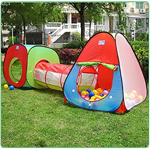 Kids Indoor Play Tent With Tunnel Set,Outdoor Playhouse Ball Tent by VicPow - Perfect Christmas Toys Gift For Toddlers Child(Ball Pits Not