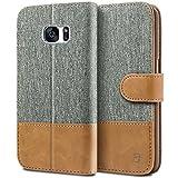 Samsung Galaxy S7 Hülle, BEZ® Handyhülle Samsung Galaxy S7, Handytasche Schutzhülle Tasche Flip Case [Stoff Bezug und PU leder] mit Kreditkartenhaltern, Standfunktion - Grau