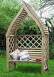 G&C Siam – Pergola aus Holz für Ihren Garten – Zweierbank – orientalische Balken Überdachung – h220 x 138 x 63 cm – Seitengitter