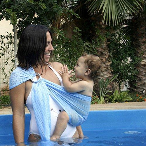 Abrigo del bebé infantil de la honda del anillo de la bolsa de viaje del niño recién nacido de secado rápido Water Pool Beach Carrier - azul claro