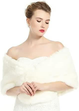 BEAUTELICATE Pelliccia Scialle Stola Donna Coprispalle Sciarpa Elegante per Matrimonio Invernale Cerimonia Sposa Damigella