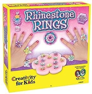 Creativity for Kids Faber-Castell Rhinestone Rings - Kits de Manualidades para niños (Adhesivo, Chica,, Espuma, Metal)