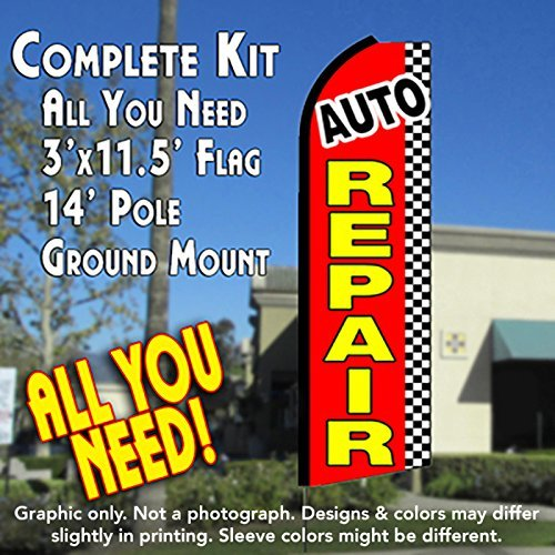 AUTO REPAIR (Checkered) Flutter Feather Banner Flag Kit (Flag, Pole, & Ground Mt) by Vista Flags