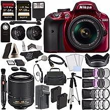 Nikon D3400 DSLR Camera With 18-55mm AF-P DX Lens (Red) + Nikon AF-S DX NIKKOR 55-200mm F/4-5.6G ED VR II Lens + Battery + Charger + 64GB + 128GB + Remote + Tripod + Case + Flash Bundle