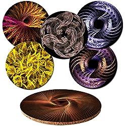 6 posavasos con 6 diseños diferentes geométricos y fractales