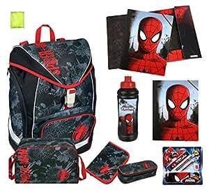 Spiderman Schulrucksack Set 16tlg. Scooli Schulranzen TWIXTER mit Schüleretui gefüllt, Sporttasche und Flasche 7550