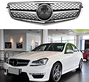 Motorfansclub Frontgrill Silber Mesh Style Grill Für Benz C Klasse 08 14 W204 Grill C200 C250 C300 C350 Auto