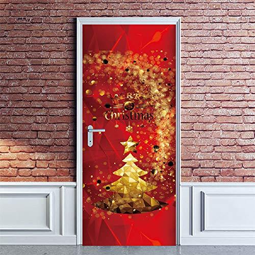 SHPPD Weihnachten Tür Aufkleber Weihnachtsbaum Schnee Glas Fenster Aufkleber Kreative Holztür Renovierung Wandaufkleber SMT011 38,5x200 cm x 2 stücke