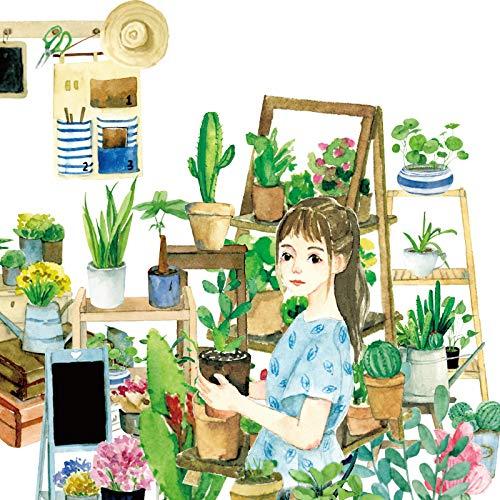 JSGDJD Band 9 Stücke Blumen Pflanzen Shop Dekorative Japanese Washi Klebeband Klebeband DIY Scrapbooking Aufkleber Label Abdeckband für Sammelalben