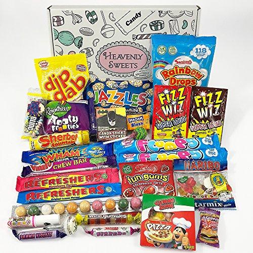 Retro Candy Geschenkkorb | Vintage Süßigkeiten Geschenkkorb aus Großbritannien | Auswahl beinhaltet, Haribo, und Lollis | gemischte Naschtüte verschenken | 27 Produkte in tollen retro Geschenkebox