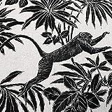 Stoff Meterware Baumwolle Natur schwarz Affen AFFE