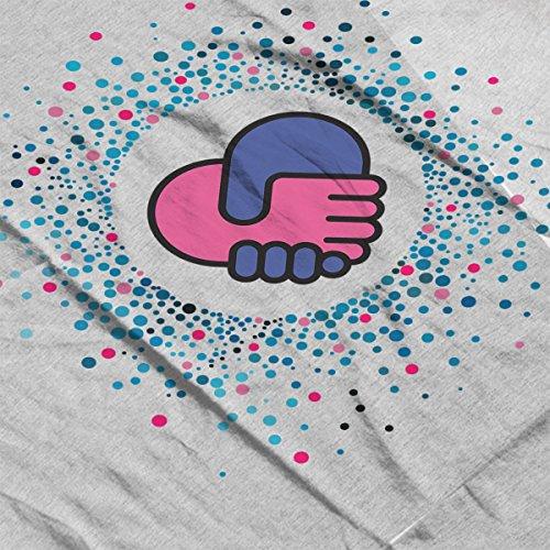 Valentines Day Hands Holding Heart Shape Dots Rays Women's Sweatshirt Heather Grey