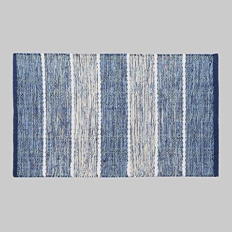 Dormitorio MOREY algodón hecho a mano Colchón puerta Mat puerta de la sala Cama borde del colchón otomanos geométricas simples (azules) ( Tamaño : 120*170CM
