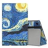 MoKo Hülle für All-New Amazon Fire HD 8 Tablet (7th & 8th Generation – 2017 & 2018 Modell) - Kunstleder Ständer Schutzhülle Smart Cover mit Stift-Schleife, Sterne Nacht