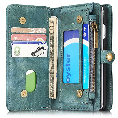 INFLATION iPhone/Samsung Leder Handytasche Case Hülle Geldbörse mit Kartenfach abnehmbar Magnet Handy Schutzhülle für Samsung Galaxy S7 in Blau