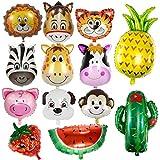 Comius Luftballon Tiere, 13 Pcs Folienballon, 9 Pcs Folienballon Tiere, 4 Pcs Früchte Ballons Perfekt für Kinder Geburtstag Party Dekoration