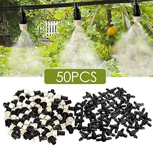 "king do way 100tlg 1/4\"" Kunststoff Nebeldüse Nebel Sprühdüse Garten Micro Bewässerungssystem,50 x Düse 50 x T-Stück"