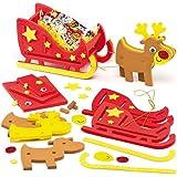 Renne e Slitta 3D in gommapiuma per Bambini da Realizzare, Personalizzare ed Esporre per Natale (confezione da 2)
