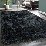 Paco Home Moderner Wohnzimmer Shaggy Hochflor Teppich Soft Garn In Uni Anthrazit Grau, Grösse:160x230 cm