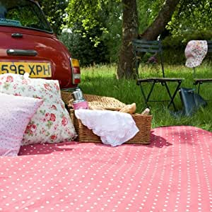Extra Large Picnic Blanket in a Compact Carry Bag - Red / White Polka Dot