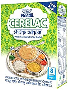 Nestlé CERELAC SHISHU AAHAAR Infant Cereal Stage-2 (8 Months-24 Months) Wheat-Rice Moong Dal Veg Khichdi 300g