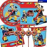 101-teiliges * FEUERWEHRMANN SAM * PARTY SET für Kindergeburtstag mit 8 Kinder: Teller, Becher, Servietten, Trinkhalme, Einladungen, Partytüten, Luftballons, Luftschlangen, u.v.m. von Riethmüller // Motto Deko Fest Kinder Geburtstag Kinderparty FEUERWEHRMANN Feuerwehr Fireman