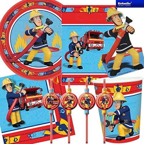 feuerwehrmann sam party 101-teiliges * FEUERWEHRMANN SAM * PARTY SET für Kindergeburtstag mit 8 Kinder: Teller, Becher, Servietten, Trinkhalme, Einladungen, Partytüten, Luftballons, Luftschlangen, u.v.m. von Riethmüller // Motto Deko Fest Kinder Geburtstag Kinderparty FEUERWEHRMANN Feuerwehr Fireman