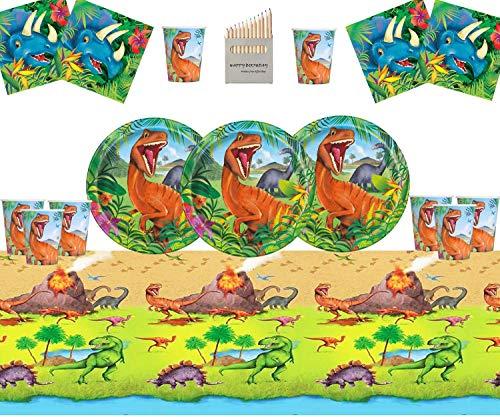Dinosaurier Party Supplies Set Dinosaurier Geburtstag Party Dekoration Kit für 16- Einweg Dino Teller Tasse Servietten Tisch Decken (Dinosaurier Party Servietten)