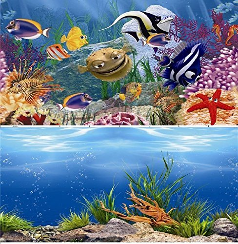 "16"" (40cm) Double Sided Aquarium Background Backdrop Fish Tank Reptile Vivarium Marine Test"
