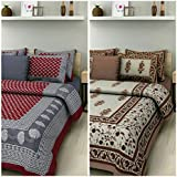 Suraaj Fashion 100% Cotton Combo Double Bed Sheet Set Of 2 Double Bedsheets With 4 Pillow Covers