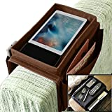Sturdy Couch Sofa Armrest Organiser with Cup Holder Tray Sofa Caddy TV Remote Storage Pocket Bag for Apple Devices Cellphone Tablets Magazines DVD Glasses Drinker Snacks Holder Pouch