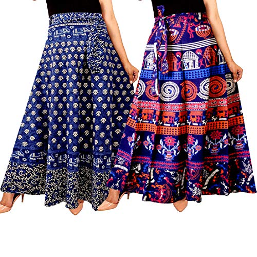 Mudrika Women\'s Cotton Wrap Around Western Wear Skirts (ComboSK_7638, Multicolour, Free Size) - Pack of 2