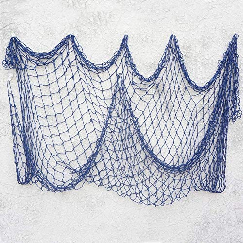 RUICK Fischernetz-Dekoration am Strand Muschel Party Tür Wand Dekoration mediterranes Meer Stil Wandaufkleber Nautische Aufkleber Basteln Hintergrund Wandbehang blau