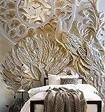 Wh-Porp Dekoratives Wandbild 3D Stereo Relief Pfau Uhren Rosen Tv Wände Wand Hintergrund Wand Gemälde Foto 3D Tapete-200Cmx140Cm