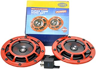 Bharat Motor Hella Red Grill Supertone Horn Set Pair with Relay 12V