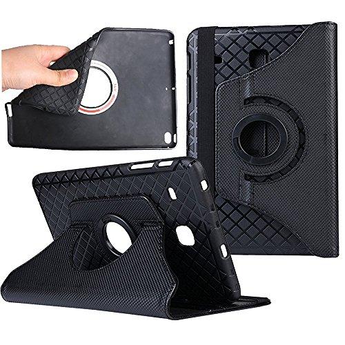 Preisvergleich Produktbild Samsung T560 Smart Hülle, TechCode® Soft Leather 360° Drehbarer Stand Schutzhülle Tasche abnehmbar Flip leder Etui mit Kartenfächern Schlaf / Wach Funktion Tablet Case für Samsung Galaxy Tab E 9.6 (Tab E 9.6, Schwarz)
