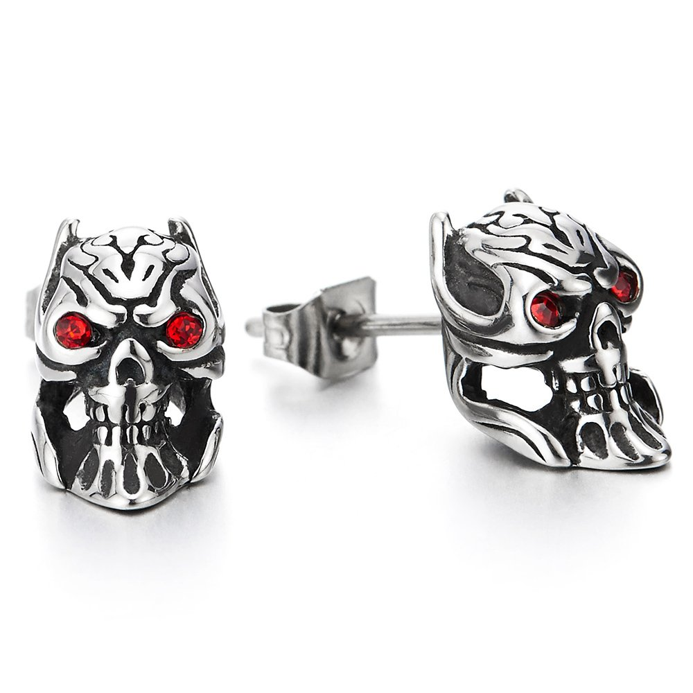 Pair Mens Boys Devil Skull Stud Earrings in Stainless Steel with Red Cubic Zirconia, Punk Rock Biker