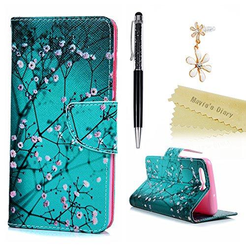 huawei-p10-hulle-maviss-diary-gemalt-rosa-fresh-blumen-muster-tasche-schutzhulle-ledercase-flipcase-