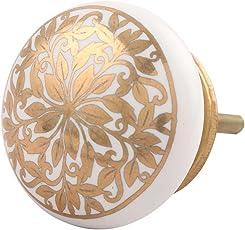 Indian-Shelf Handmade Ceramic Golden Drawer/Dresser Knobs (CK-1417)