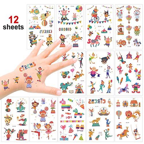 val Temporäre Tattoos Set, Kindertattoos Aufkleber für Jungen Mädchen Kindergeburtstag Mitgebsel Gastgeschenke, 100+ Clown Tier Tattoos Kinder ()