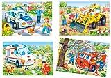 Unbekannt 4 Stück: Mini Puzzle / Minipuzzle 24 Teile - Fahrzeuge / Auto - für Kinder Kinderpuzzle Minipuzzles Feuerwehr Polizei Bagger Krankenwagen