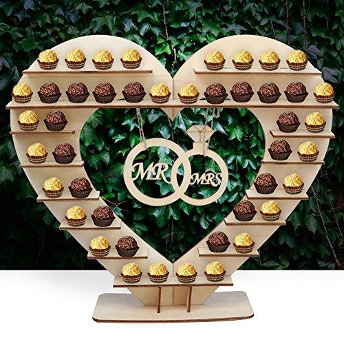 Soporte de madera con forma de corazón para bombones, decoración de mesa para bodas, de AerWo