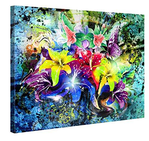 Gallery of Innovative Art Premium Kunstdruck Wand-Bild – Flower Power – 100x75cm XXL Leinwand-Druck in Deutscher Marken-Qualität – Leinwand-Bilder auf Holz-Keilrahmen als Moderne Wohnzimmer-Deko …