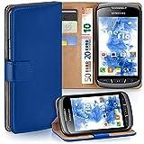 moex Samsung Galaxy Xcover 2 | Hülle Blau mit Karten-Fach 360° Book Klapp-Hülle Handytasche Kunst-Leder Handyhülle für Samsung Galaxy Xcover 2 Case Flip Cover Schutzhülle Tasche