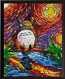 Uhomate Mon voisin Totoro Lakeside Hayao Miyazaki Décoration murale Vincent van Gogh Nuit étoilée Posters Home sur toile Décoration murale anniversaire cadeaux Cadeau bébé A047 filtre, 8x10 inch