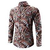 Xinan Hemd Herren 3D Print T-Shirt Sport Langarm Bluse (XL, Blau)